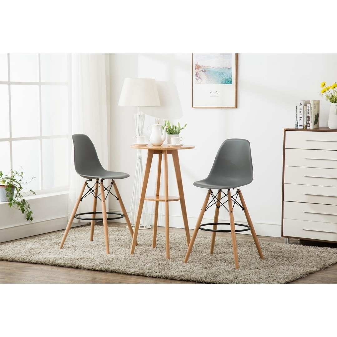 Porthos Home Alonso Bar Stools, Set of 2 with Backs, Footrests, Indoor, Outdoor Counter Height with Stylish Beech Legs for Kitchen, Dining Area, Restaurants 43 x 18 x 20 Inch