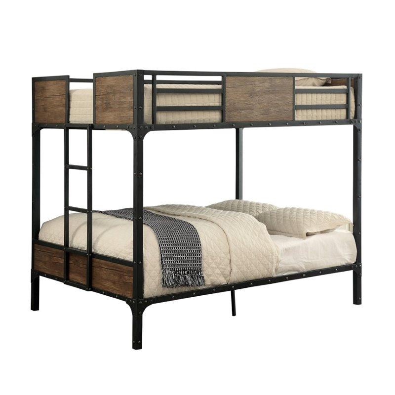 Furniture of America Baron Full over Full Bunk Bed in Black