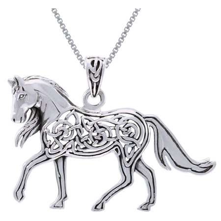 Sterling Silver Celtic Horse Pendant on 18 Inch Box Chain Necklace ()