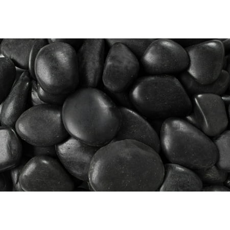 20 lb Black Grade A Polished Pebbles, 2