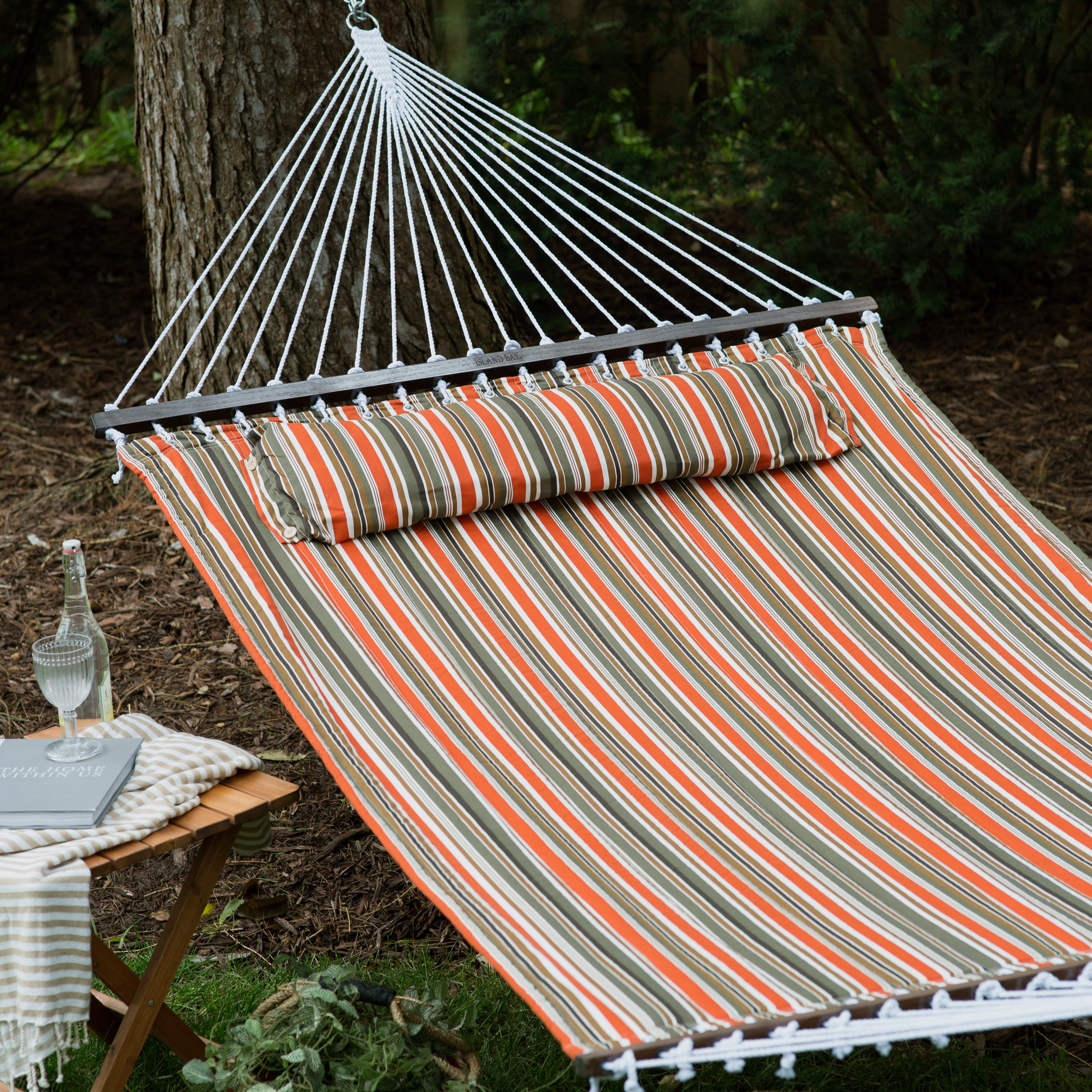 Island Bay 13 ft. Sienna Stripe Quilted Hammock