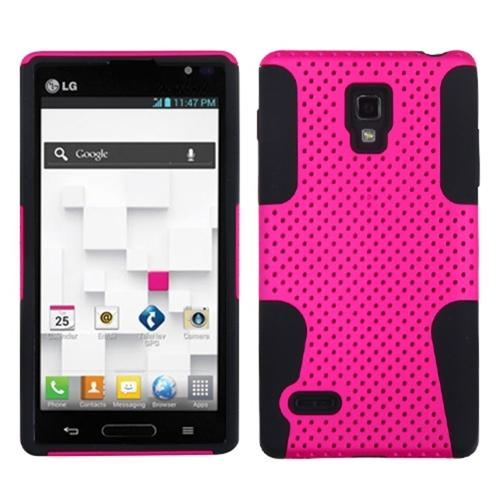 Insten Hot Pink/Black Astronoot Phone Case for LG: P769 (Optimus L9)