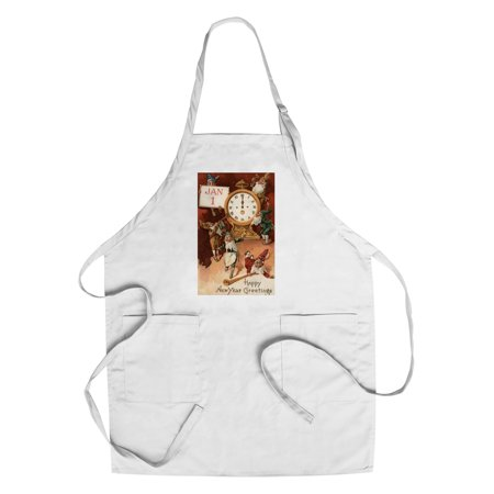 New Years Holiday Vintage Antique - Happy New Year Greetings - Gnomes Partying Around a Clock - Vintage Holiday Art (Cotton/Polyester Chef's Apron)