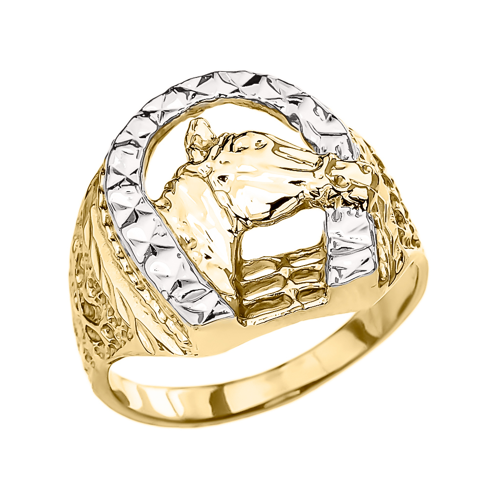 14k yellow gold horse head with horseshoe ring