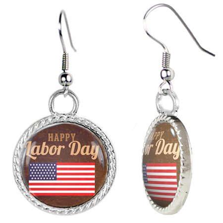 Happy Labor Day Illustration With American Flag Earrings