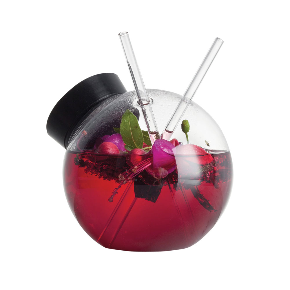Quido Round Avant Garde Cocktail Glass And Straws 10 Ounce by