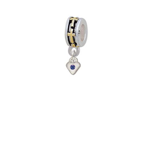Mini Blue Birthday Crystal Heart - Gold Tone Cross Charm Bead
