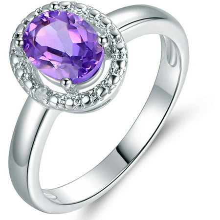 4 Carat T.G.W. Amethyst Topaz and Diamond 18kt White Gold-Plated Ring Cut Amethyst Citrine Ring