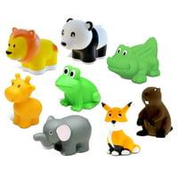 Dollibu Bath Buddies Wild Critters Rubber Squirter Toys - Elephant, Panda Bear, Alligator, Lion, Giraffe, Frog, Fox, Beaver - 3 inch - For Baths, Pool, Outdoor - Baby Bathtime Learning (8pc Set)