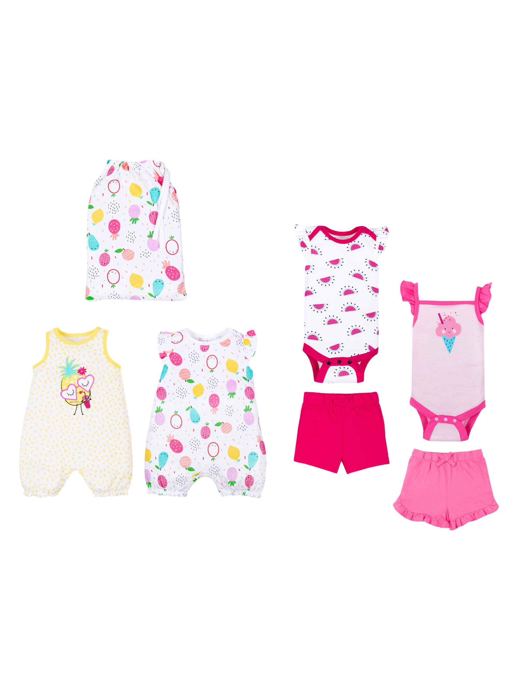 100% Organic Cotton Star-Pack Mix 'n Match Outfits, 6pc Gift Bag Set (Baby Girls)