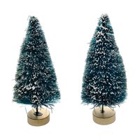Sisal Bottle Brush Tree - Green With Frost - 4 Inches - 2 Pieces