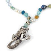 Sweet Romance  Silver Sculptured Mermaid On Gemstone and Pearl Beaded  Necklace