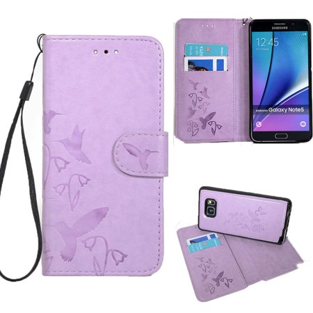 - CellularOutfitter Samsung Galaxy Note 5 Wallet Case - Embossed Hummingbird Design w/ Matching Detachable Case and Wristlet - Lavender