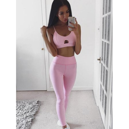 Women 2 Piece Outfits Crop Top Long Pants Leggings Yoga Set Tracksuits Hip Hop Fitness Training Running Workout