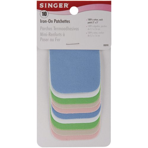 Singer 2-inch-by-3-inch Iron-On Patches, Light Assortment, 10 per package