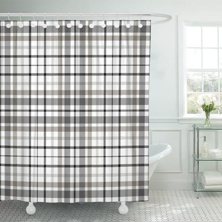 PKNMT Beige Tartan Plaid Pattern Traditional Checkered for Digital Gray Shower Curtain 60x72 inches