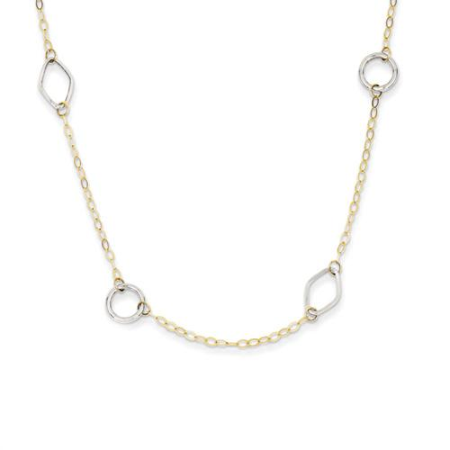 14k Two Tone Gold 18in Circle & Diamond Shapes Necklace. Metal Wt- 1.34g