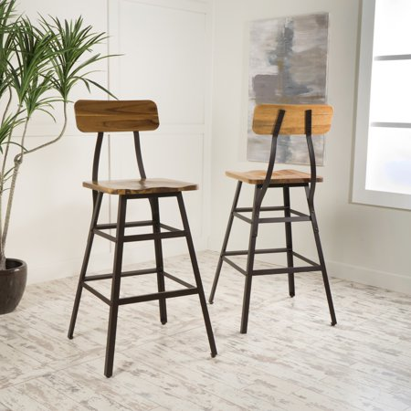 Noble House Reagan Natural Stained Laminated Acacia Bar Chair (Set of 2)