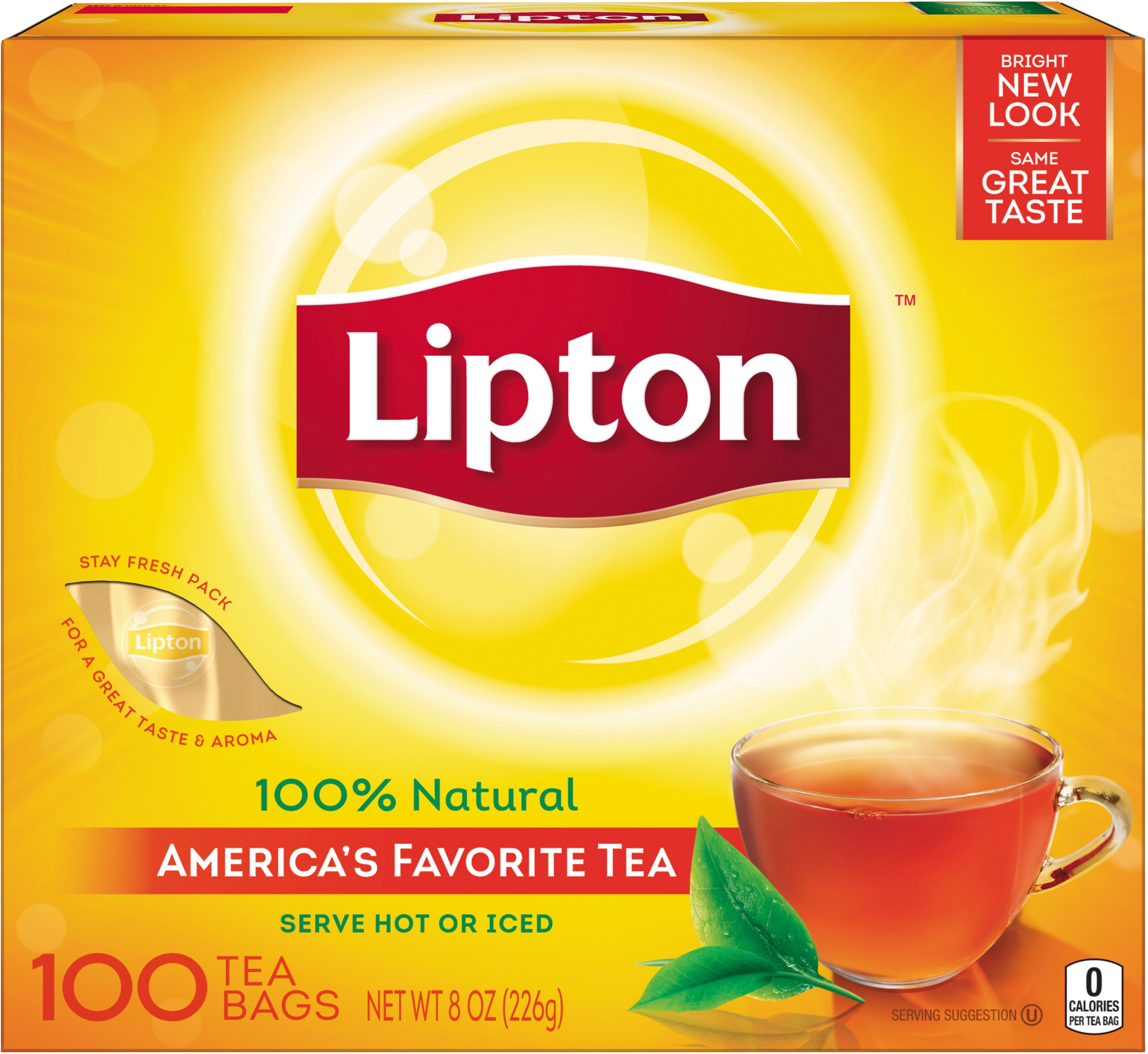 2 Pack - Lipton Black Tea Bags 100% Natural Tea 100 ct