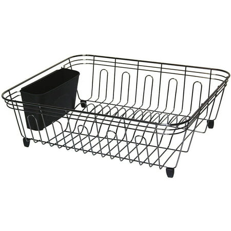 Real Home Large Black, Chrome Dish Drainer ()