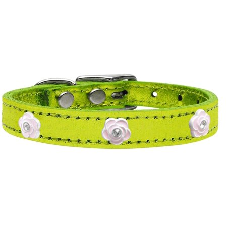 Light Pink Rose Widget Genuine Metallic Leather Dog Collar Lime Green 14 (Rosso Leather)