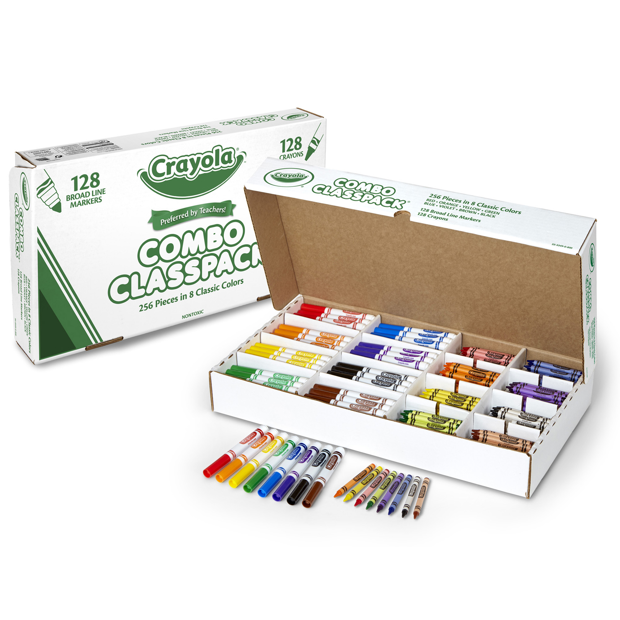 Crayola Crayons And Markers Combo Classpack, 256 Pieces In 8 Classic Colors