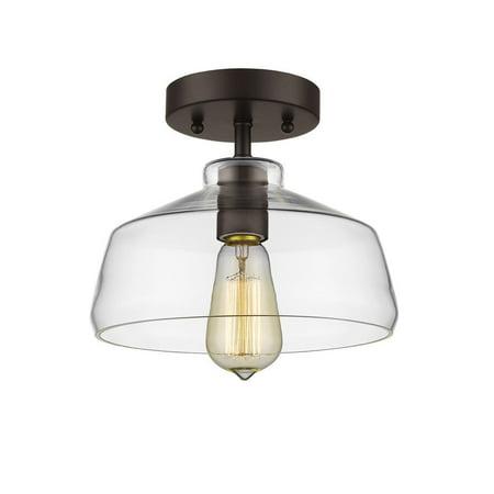 Chloe Lighting  Loft/Industrial 1-light Oil Rubbed Bronze Semi Flush Mount