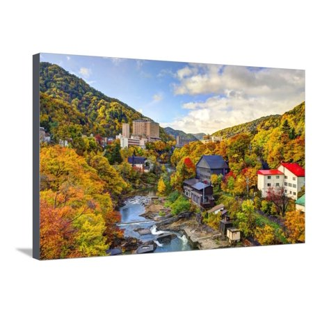 Hot Springs Resort Town of Jozankei, Japan in the Fall. Stretched Canvas Print Wall Art By