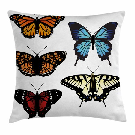 Swallowtail Butterfly Throw Pillow Cushion Cover  Five Different Butterflies Colorful Monarch Lady Insect Wings Spring  Decorative Square Accent Pillow Case  20 X 20 Inches  Multicolor  By Ambesonne