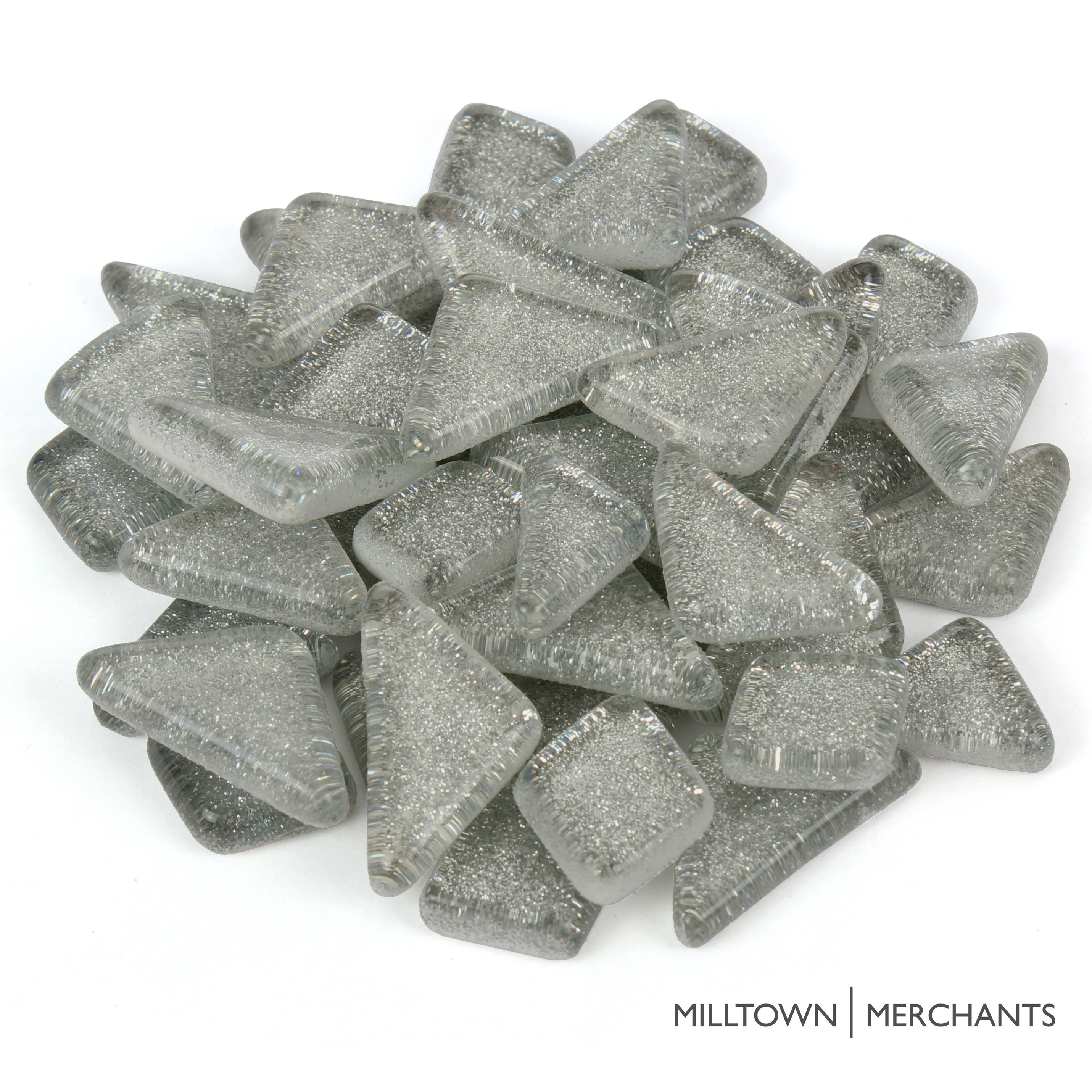 Milltown Merchants Glitter Mosaic Tile Pieces - Bulk Sparkle Mosaic Tiles - Shimmer Tile Assortment For Backsplash, Murals, Stepping Stones, and Mosaics