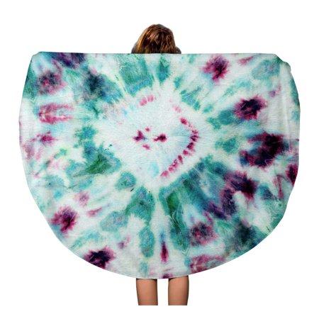 Laddka 60 Inch Round Beach Towel Blanket Tie Dye Pattern