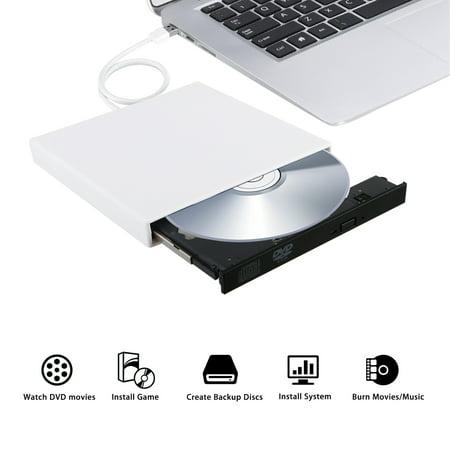 - External USB 2.0 DVD RW CD Writer Slim Drive Burner Reader Player for PC Laptop