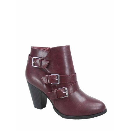 Women's Round Toe Faux Leather Strappy Buckles High Heel Ankle Booties