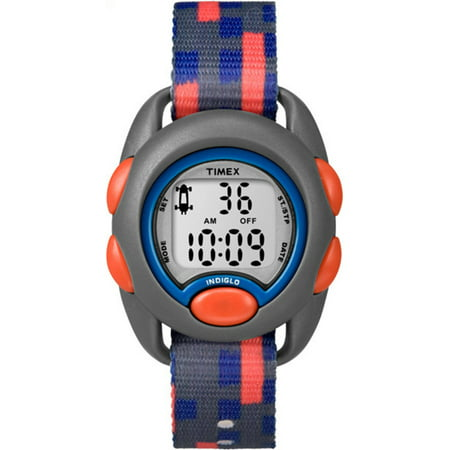 - Boys Time Machines Digital Gray/Blue/Red Watch, Fabric Strap