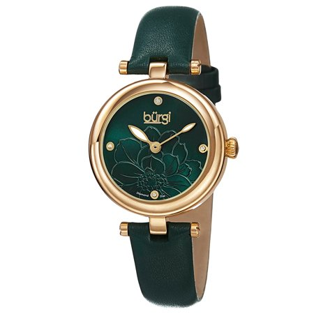 Diamonds Quartz Diamond Watch - Burgi Women's Quartz Diamond Flower Dial Leather Green Strap Watch