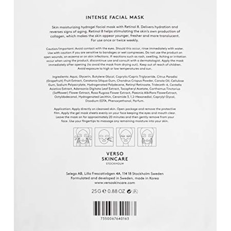 Intense Facial Mask by Verso Skincare for Women - 4 x 0.88 oz Mask - image 2 of 4