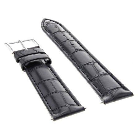 22MM LEATHER WATCH STRAP BAND BRACELET FOR ORIS BLACK ()