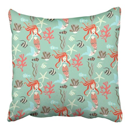 CMFUN Mermaid Nice Underwater with Fish Plant Sea Shell Coral Leaf Starfish Pillowcase Cushion Cover 16x16 - Coral Leaf