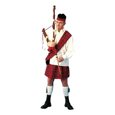 Mens Scottish Highlander Kilt Hat Sash Halloween Heritage Adult Sized Costume