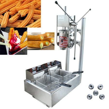 3L Commercial Vertical Manual Spanish Churros Machine with 12L Deep Fryer Authentic Mexican