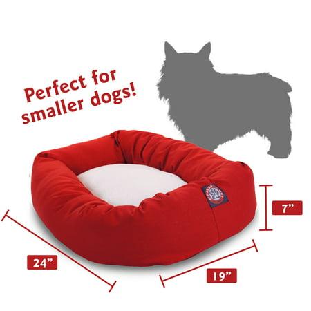 Majestic Pet Poly/Cotton & Sherpa Bagel Dog Bed Machine Washable Red Small 24u0022 x 19u0022 x 7u0022