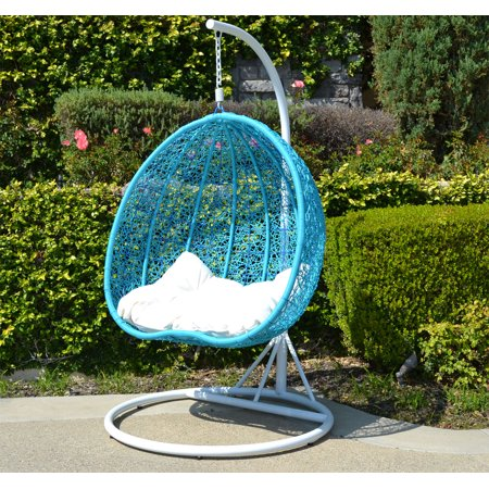 Awesome White Turquoise Egg Shape Wicker Rattan Swing Chair Hanging Hammock 2 Person 418 Lbs Cap Theyellowbook Wood Chair Design Ideas Theyellowbookinfo