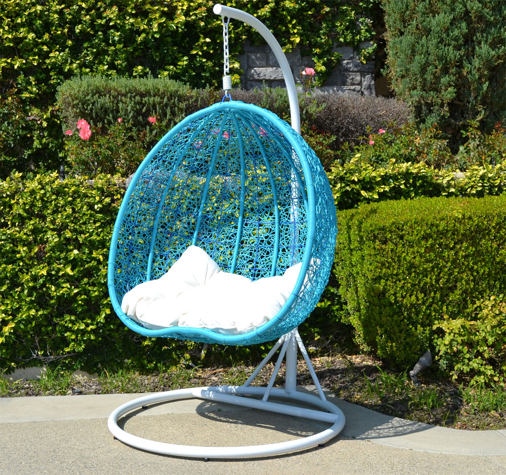 White TURQUOISE Egg Shape Wicker Rattan Swing Chair Hanging Hammock 2  Person 418 Lbs Cap