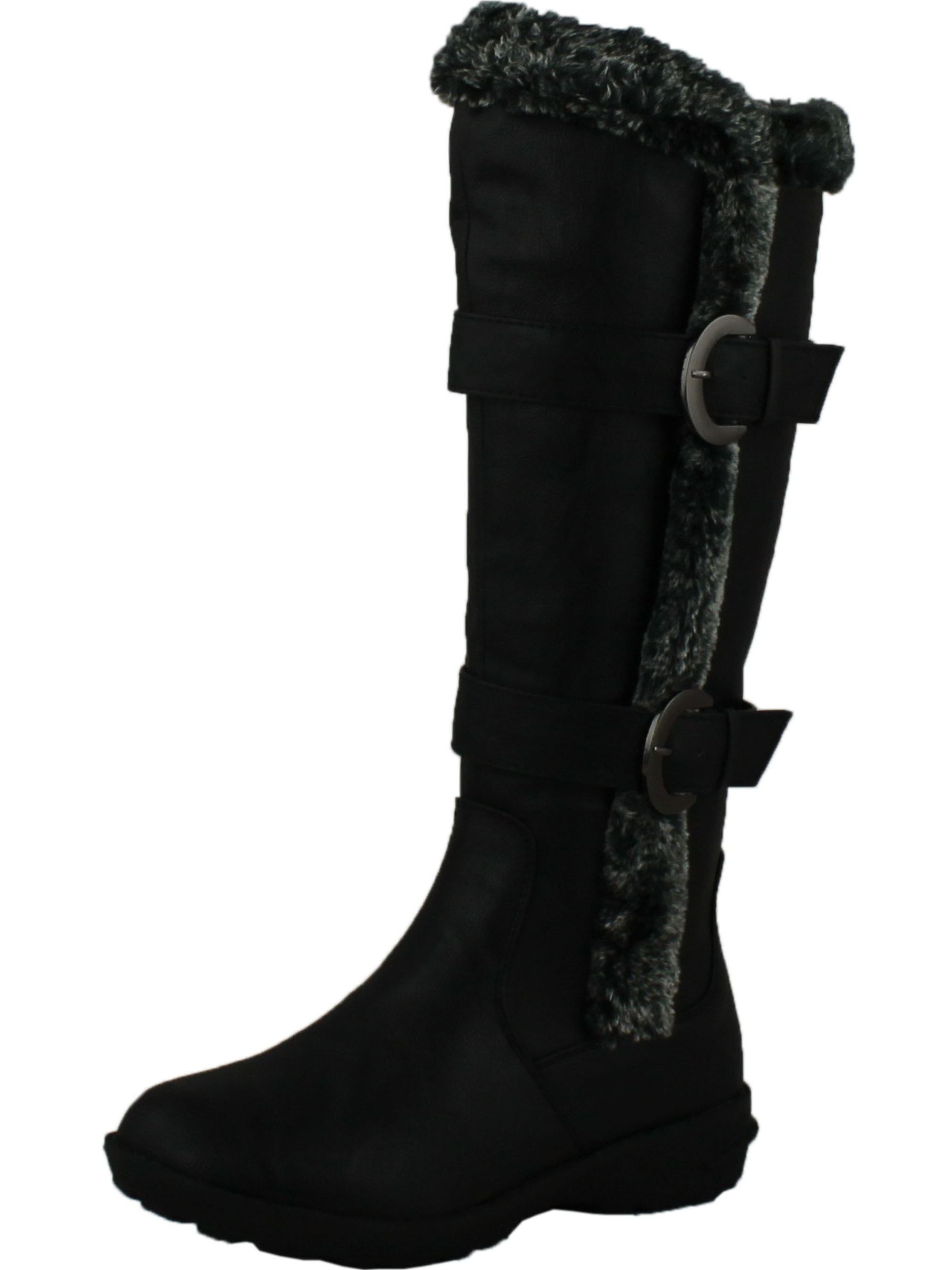 FOREVER AURA-43 Womens Double Straps Knee High Boots Winter Boots
