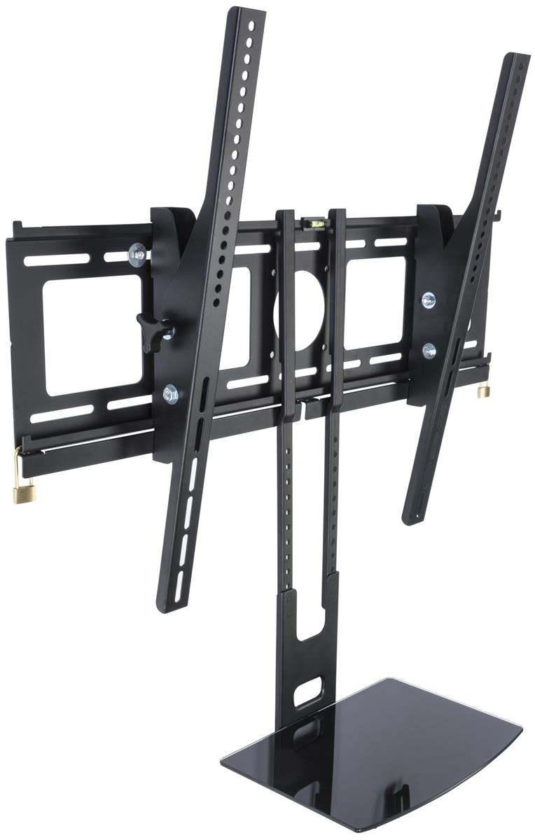 Displays2go SHFMT4270B1 TV Wall Mount with Glass Accessory Shelf, Holds 42-70\ by Displays2go