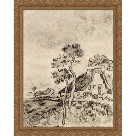- Cottages and Trees 28x36 Large Gold Ornate Wood Framed Canvas Art by Vincent van Gogh