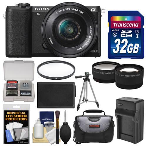 Sony Alpha A5100 Wi-Fi Digital Camera & 16-50mm Lens (Black) with 32GB Card + Case +... by Sony