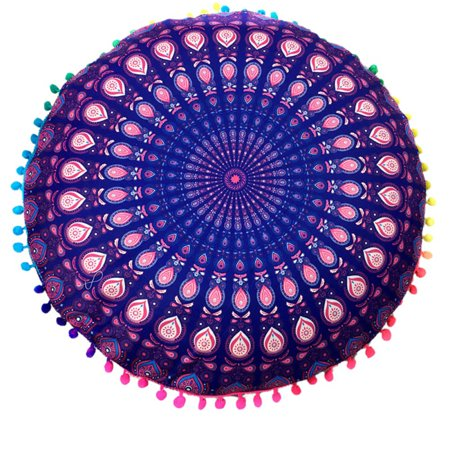 Large Round Mandala Floor Pillow Case Bohemian Yoga meditation Throw Cushion Cover