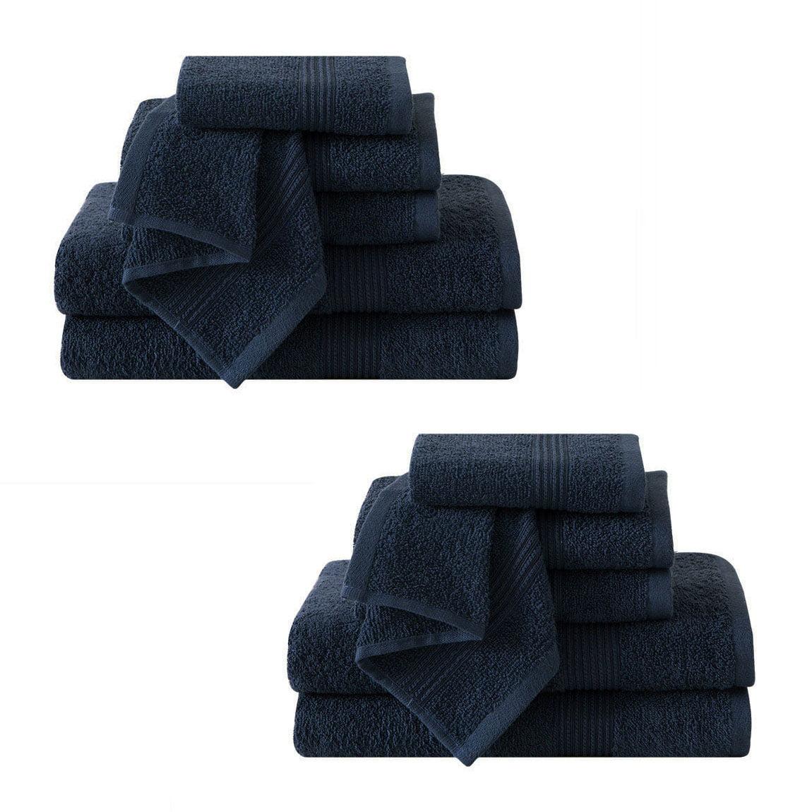 Ribbed Luxury Bath Towel 12 Piece Set 100% Cotton, Navy Blue (4...