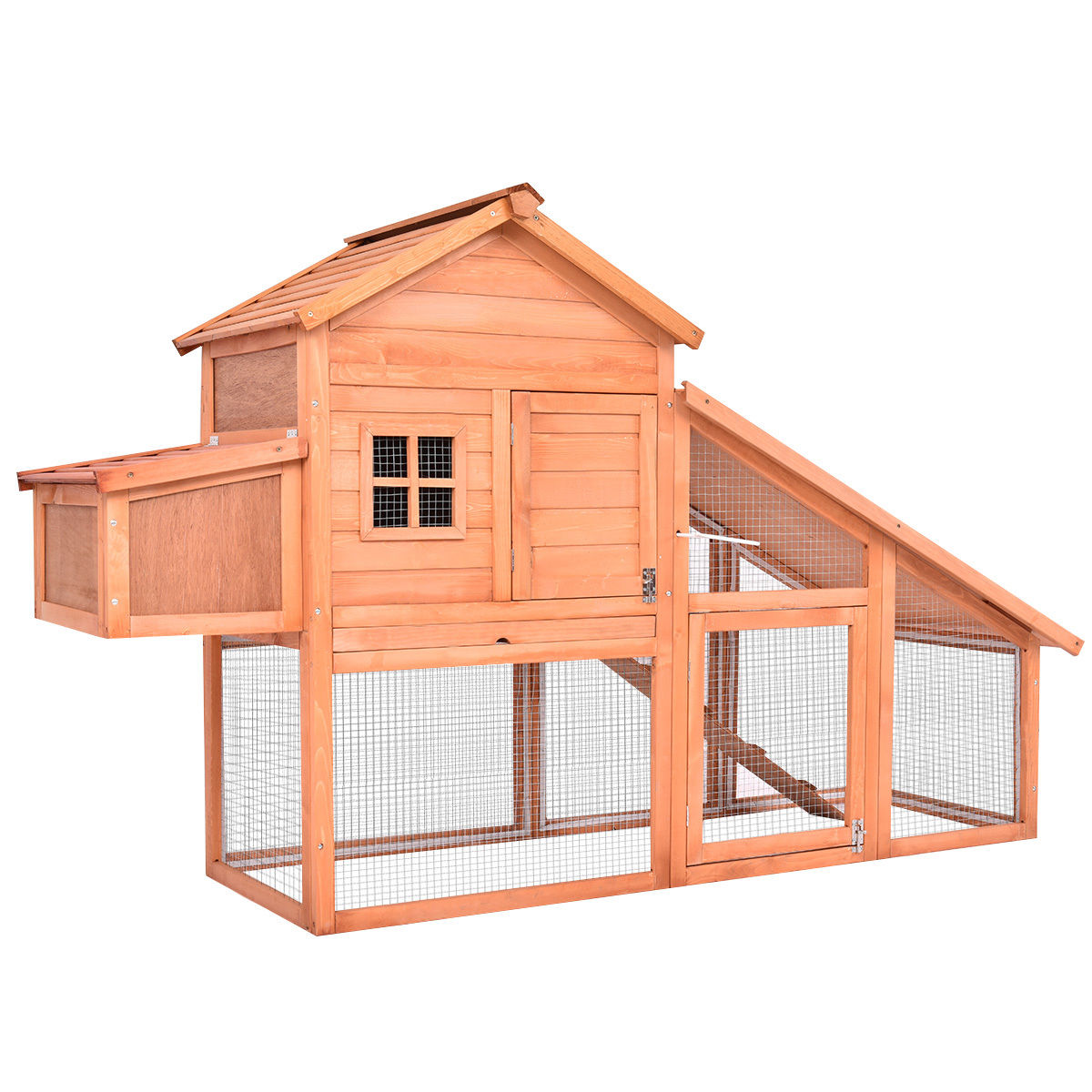 Costway 75'' Large Deluxe Wooden Chicken Coop Backyard Nest Box Hen House Hutch w/Run